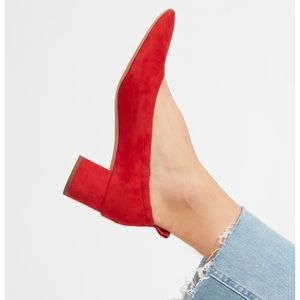 Beautiful Everlane red suede day heel